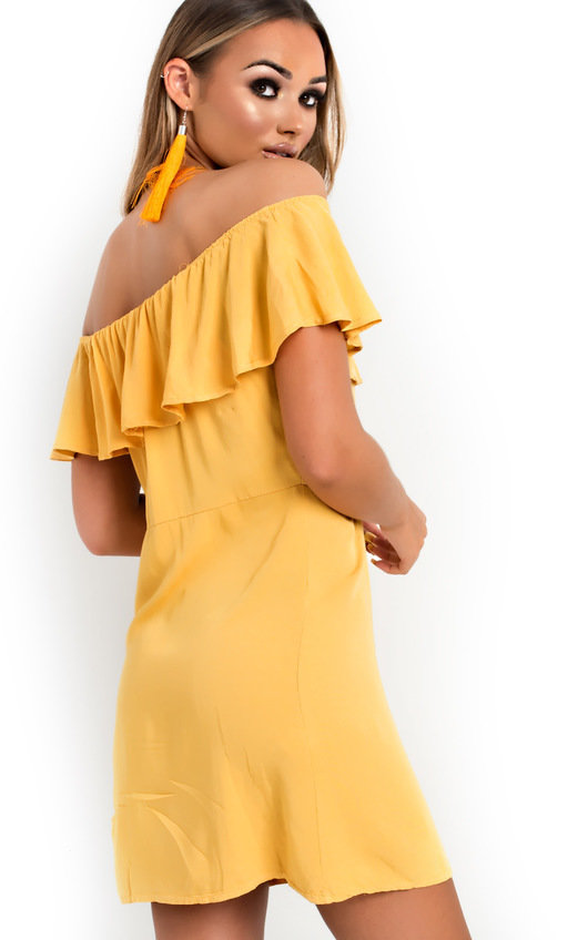 1f49c108d608c Vivi Off Shoulder Button Up Dress in Yellow