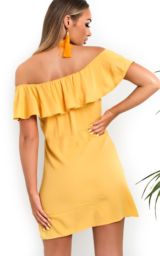 30ccec6b2a8 Vivi Off Shoulder Button Up Dress in Yellow