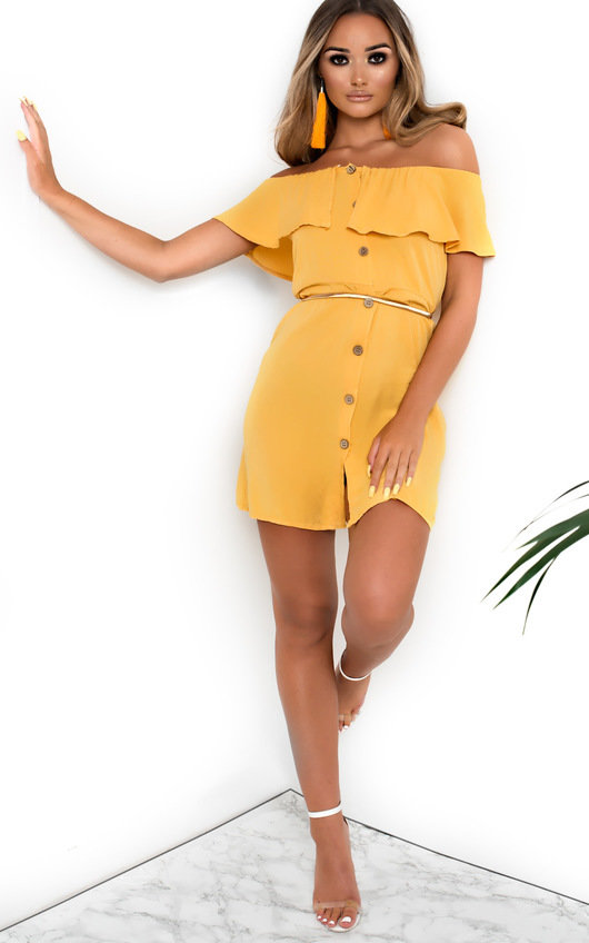 407840bd1f58 Vivi Off Shoulder Button Up Dress in Yellow | ikrush