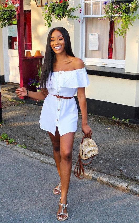 Vivi Off Shoulder Button Up Dress