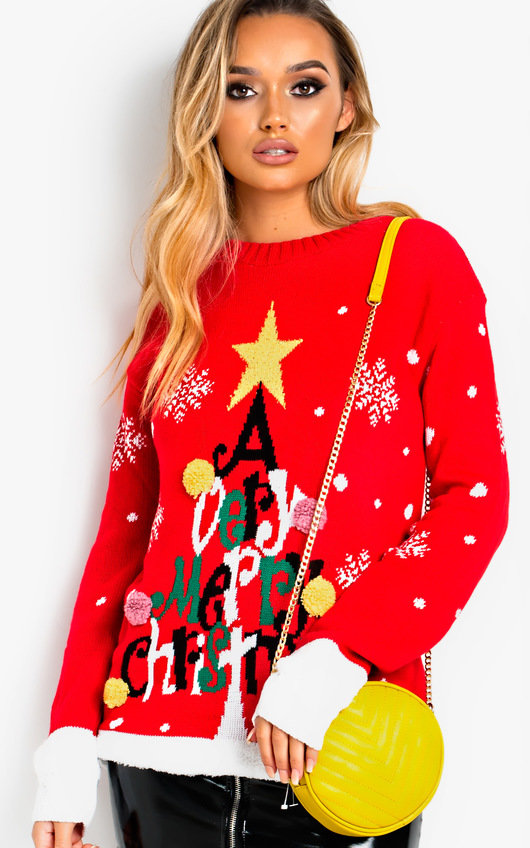 Vixen Oversized Slogan Christmas Jumper