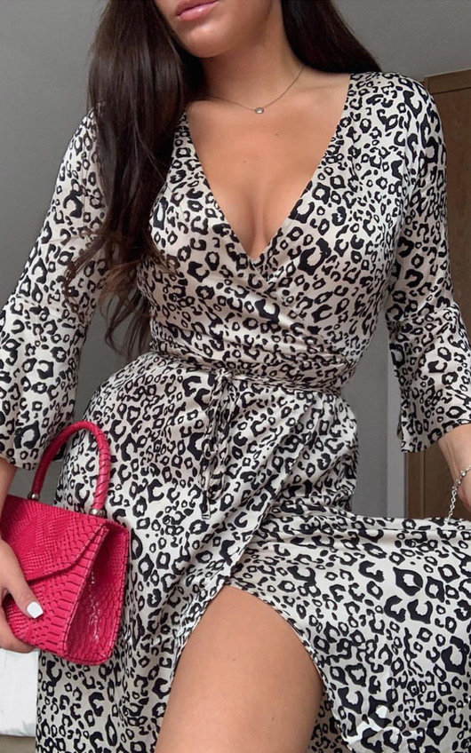 Willow Animal Print Maxi Wrap Dress