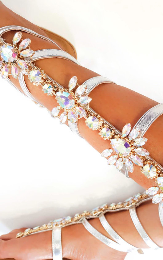 18d7fed3fac484 Willow Embellished Gladiator Sandals in Silver