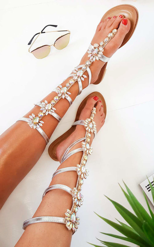 d2710a79316a Willow Embellished Gladiator Sandals in Silver