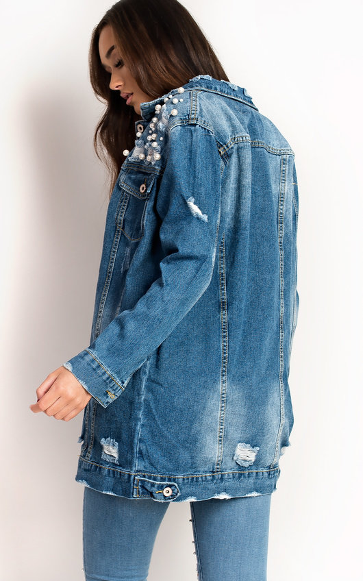 Willow Pearl Embellished Long Lined Denim Jacket In Denim