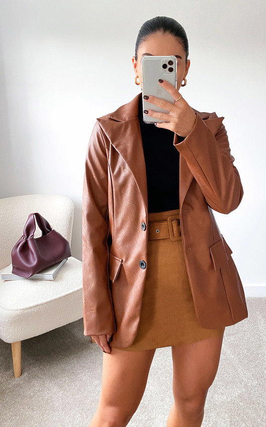 Winnie Faux Leather Blazer Jacket