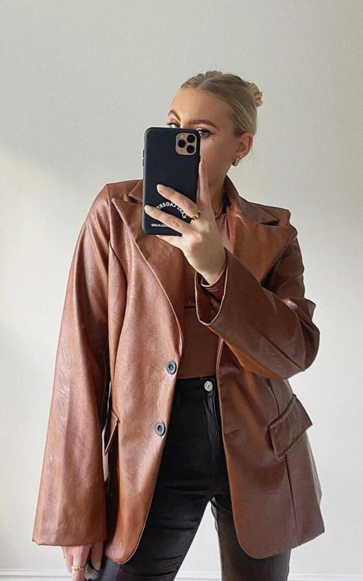 Winnie Faux Leather Blazer Jacket