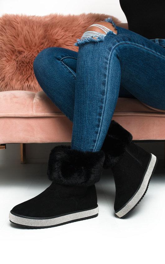 Winnie Fluffy Diamante Ankle Boots