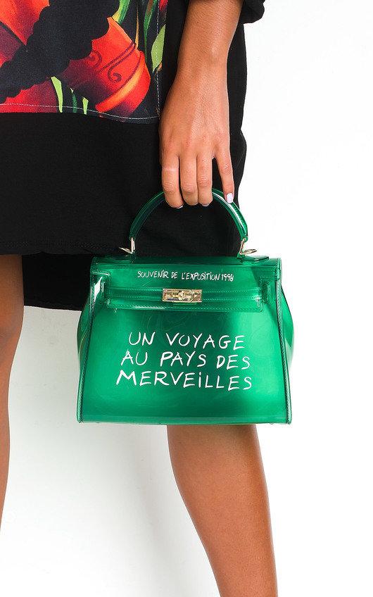 Xanthe Clear Slogan Handbag