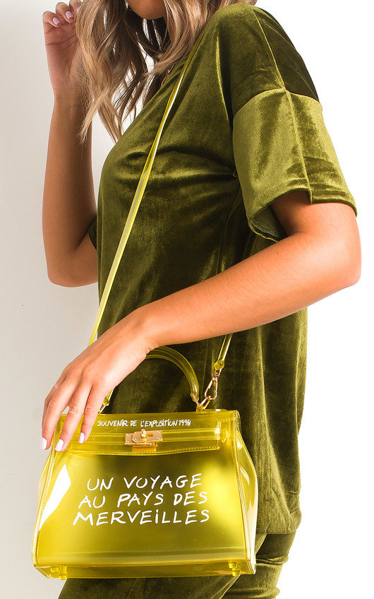 Xanthe Clear Slogan Handbag