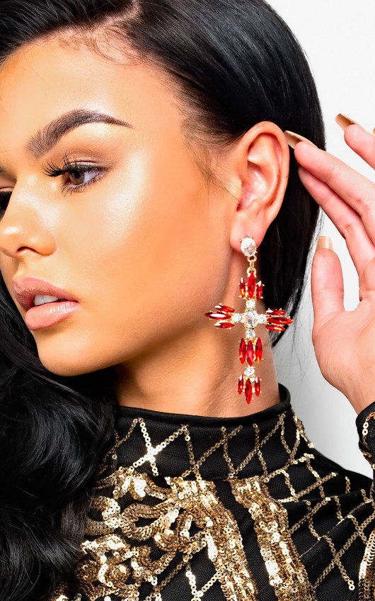 Xanthe Diamante Cross Statement Earrings