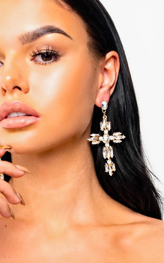 Xanthe Diamante Cross Statement Earrings
