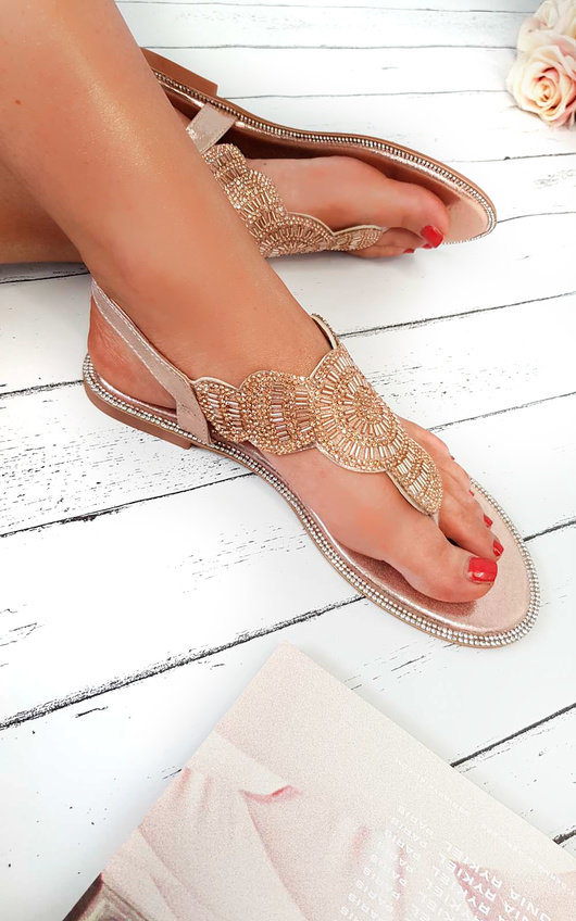 Xanthe Diamante Embellished T-Bar Sandals
