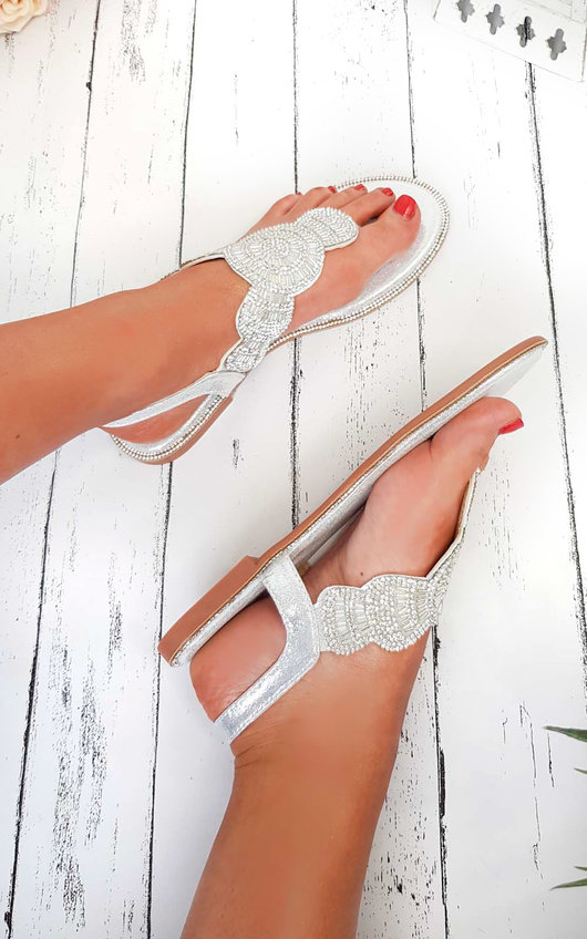 Xanthe Diamante Embellished T-Bar Sandals