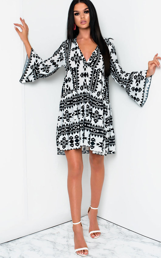 Xanthe Flare Printed Shift Dress
