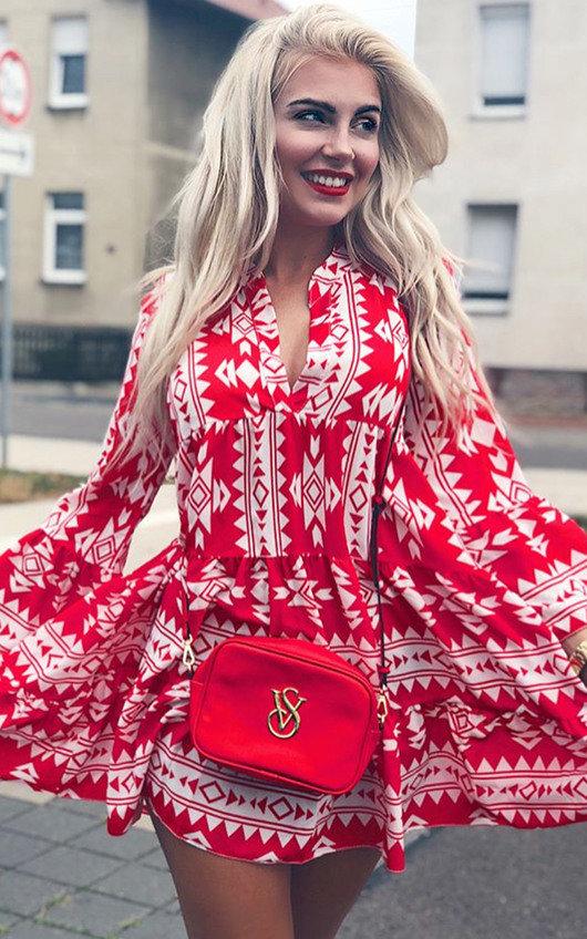 Xanthe Flare Printed Shift Dress