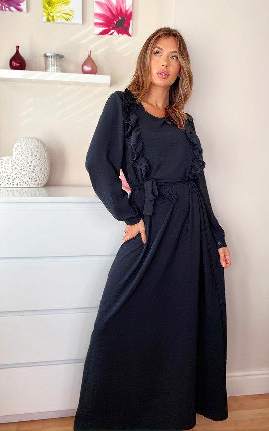 Xanthe Frill Tie Waist Maxi Dress