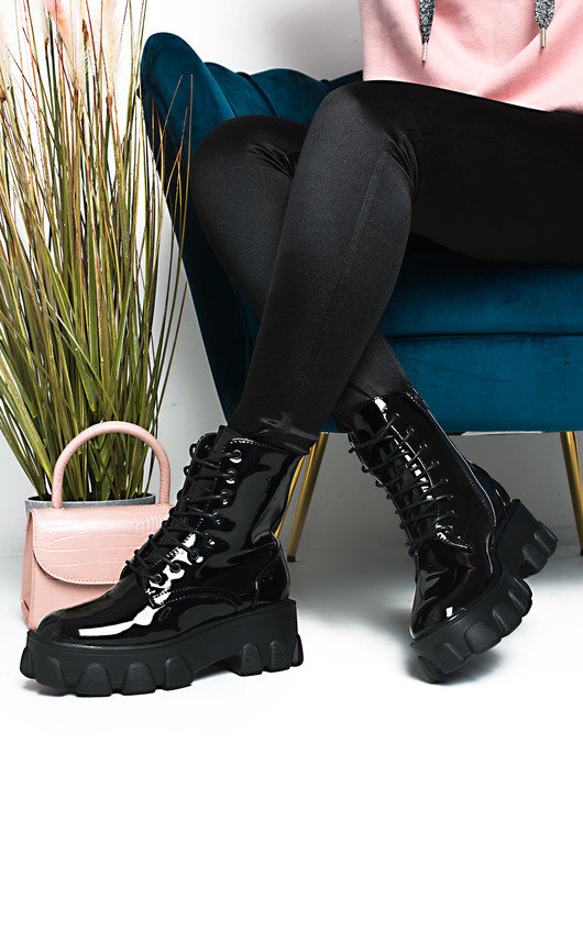 Xanthe Lace Up Chunky Biker Boots