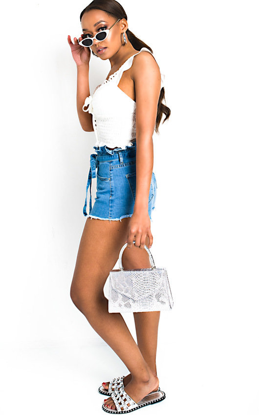 d0fc187aea Xanthe Tie Waist Paperbag Denim Shorts in Denim | ikrush