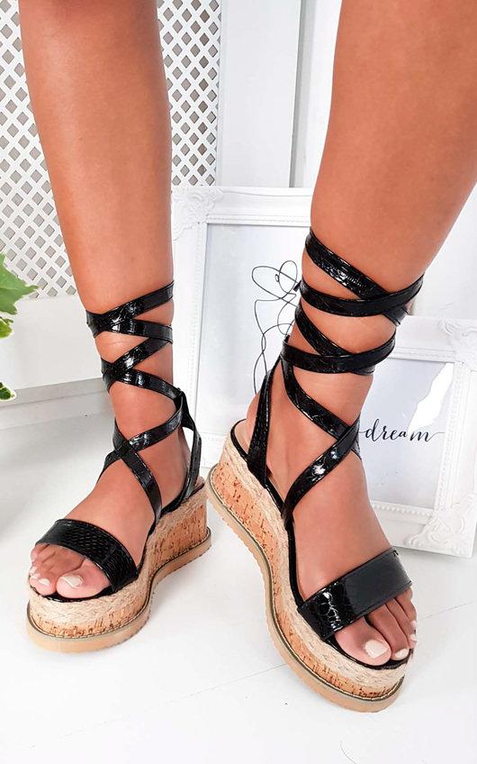 Yana Faux Snake Skin Flatform Sandal