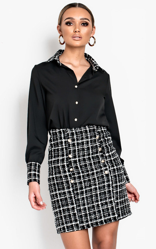 Yana Long-Lined Tweed Skirt