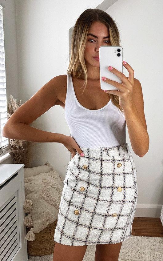 Yara Checked Printed Skirt