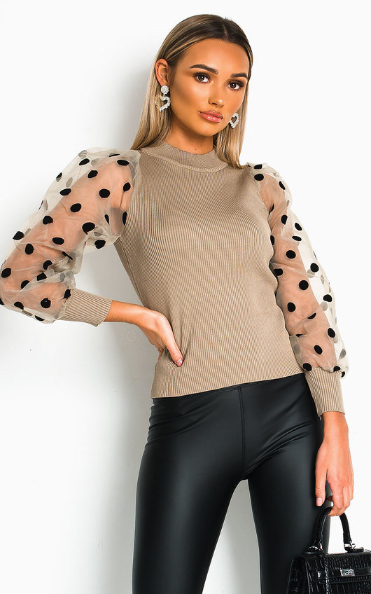 Yarra Polka Dot Sheer Sleeve Jumper