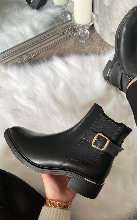 Yas Side Buckle Ankle Boots