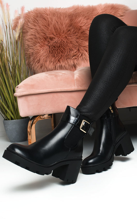 Yasmin Heeled Buckle Ankle Boots