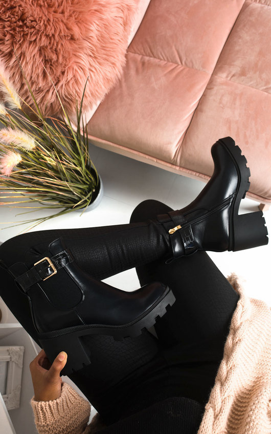 Yasmin Heeled Buckle Ankle Boots