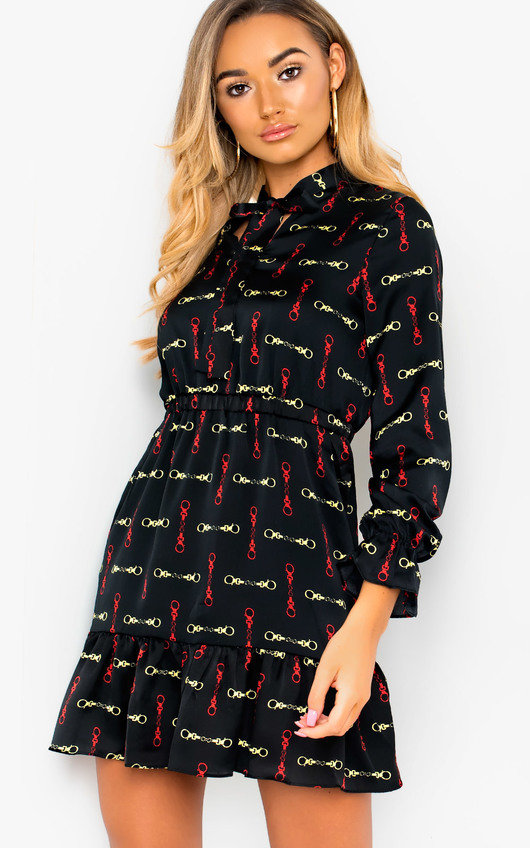 Yaz Tie Neck Printed Dress