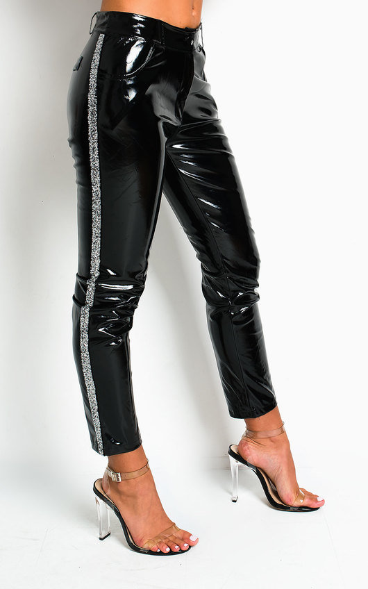 Zac High Shine Embellished PU Trousers