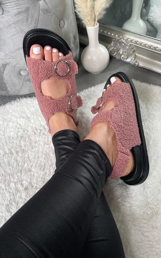 Zahra Faux Fur Double Buckle Sliders