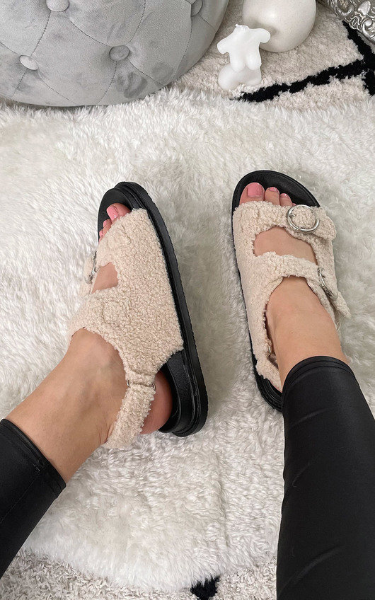 Zahra Faux Fur Double Buckle Sliders