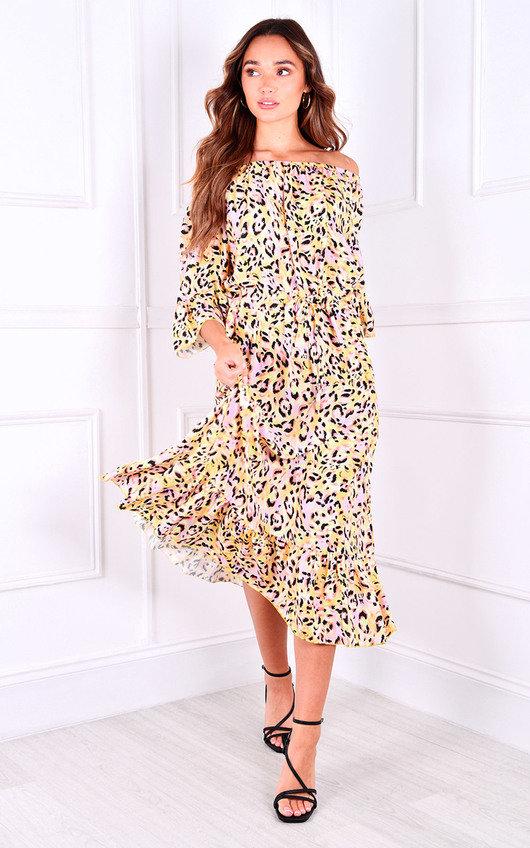 Zamira Ruffle Hem Printed Midi Dress
