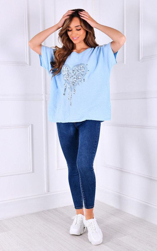 Zana Sequin Heart Detail Oversized T-Shirt