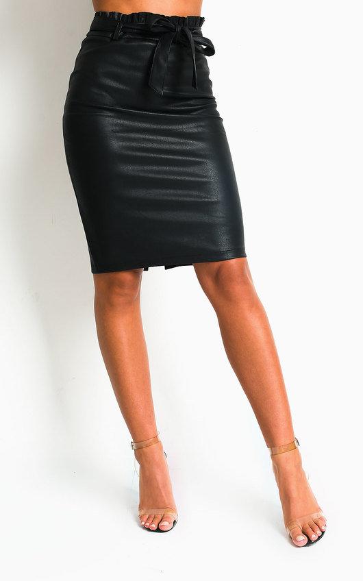 Zander Faux Leather Midi Skirt