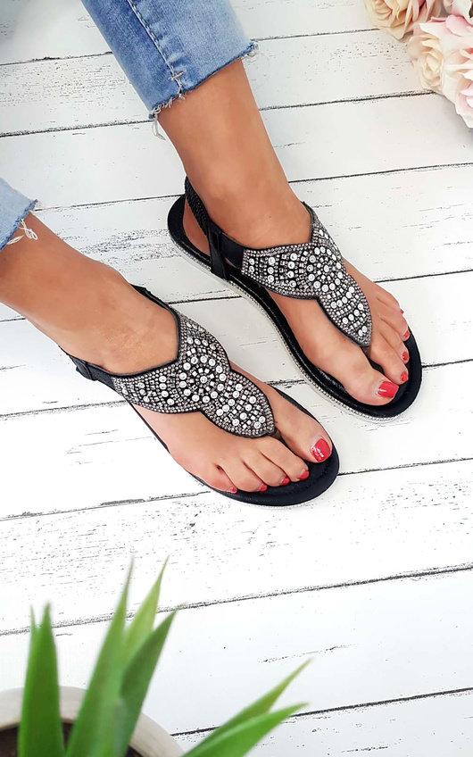 Zania Diamante Embellished T-Bar Sandals