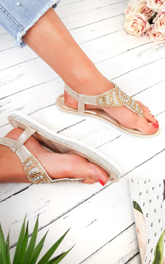 Zania Diamante Embellished T-Bar Sandals