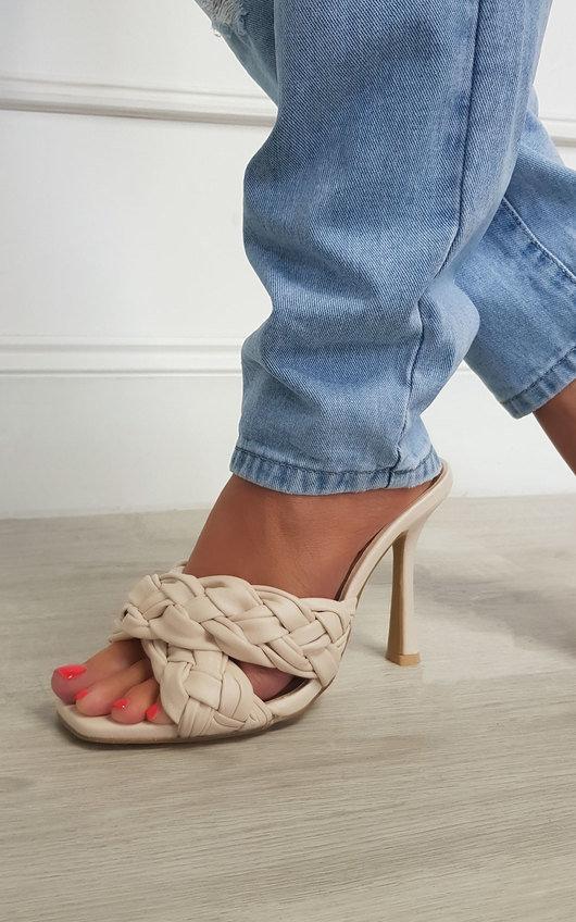 Zara Braided Woven Mule Heels