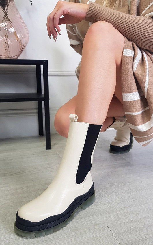 Zara Faux Leather Chunky Ankle Boot