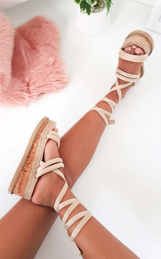 Zara Faux Suede Lace Up Flatform Sandal