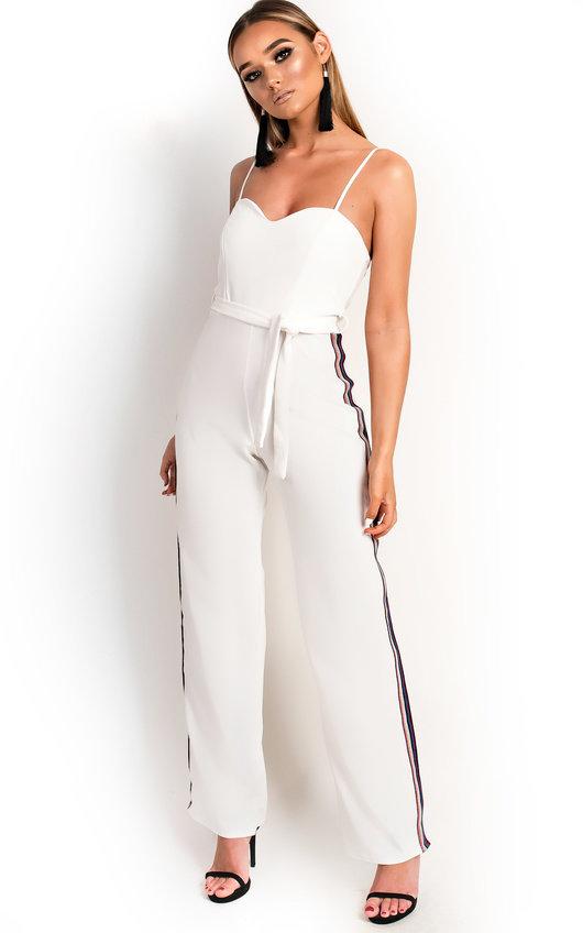 ac7c8bddf2c Zara Rainbow Stripe Wide Leg Jumpsuit in White