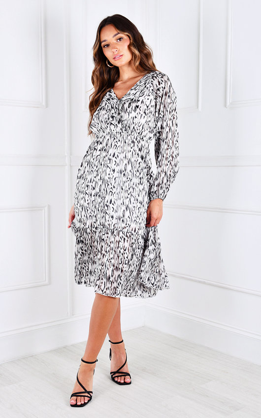 Zara V Neck Printed Midi Dress