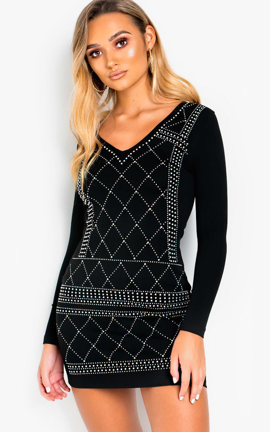 Zarah Studded Embellished Mini Dress