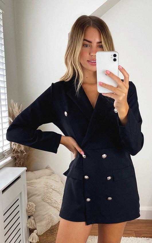 Zaza Blazer Dress with Button Detail