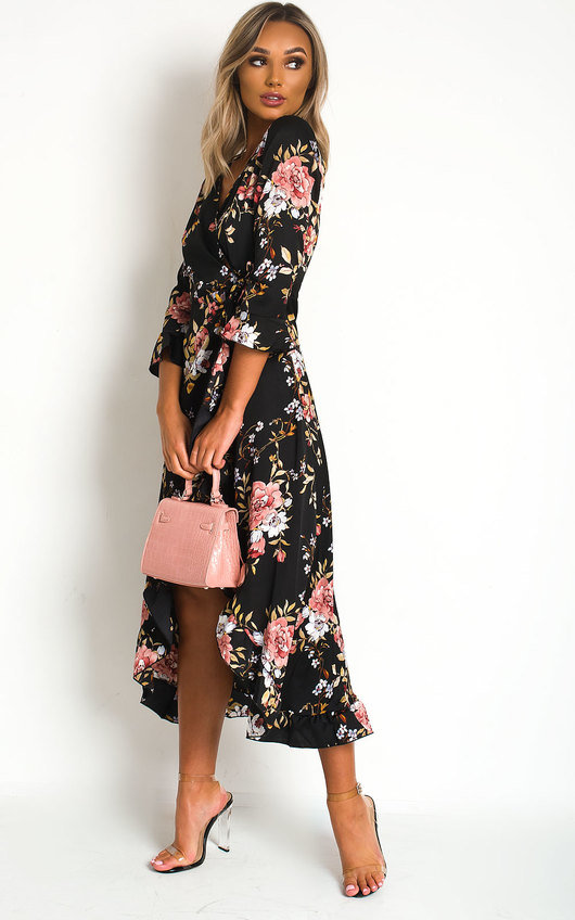 Zaza Wrap Front Midi Dress