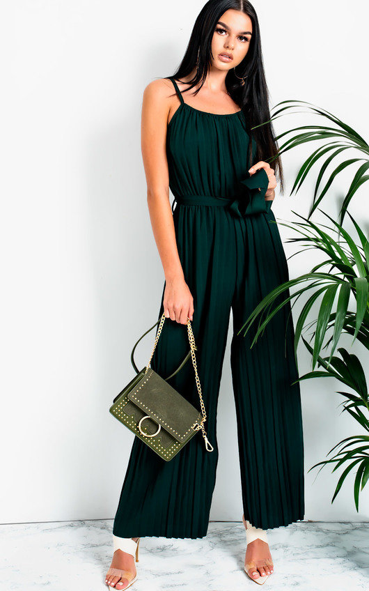 Zeena Pleated Tie Waist  Jumpsuit