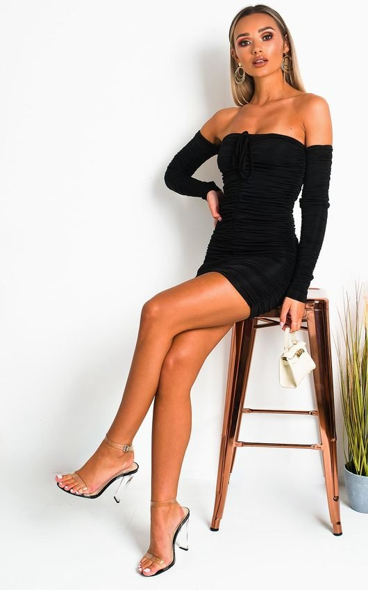 Zeena Ruched Off Shoulder Bodycon Dress