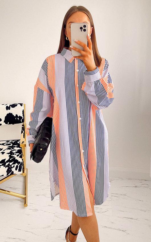 Zelda Striped Midi Shirt Dress